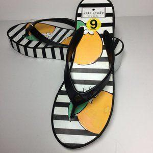 kate spade.  white and black platform sandals,